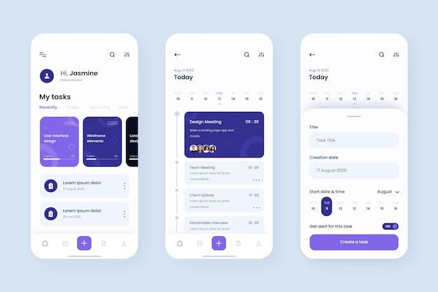 App-sjabloon voor taakbeheer Premium Vector