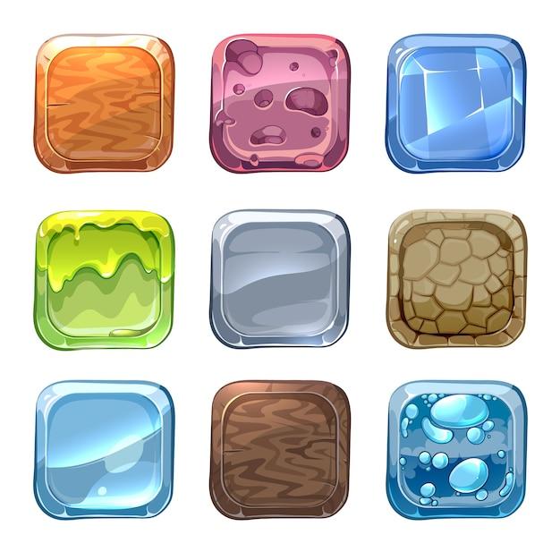 App vector iconen met verschillende texturen in cartoon stijl. ui steen Gratis Vector