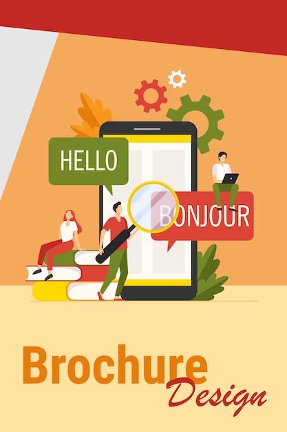 App vertalen op mobiele telefoon. mensen die een online vertaaldienst gebruiken, vertalen van het engels naar het frans. vectorillustratie voor het leren van vreemde talen, online service, communicatieconcept Gratis Vector