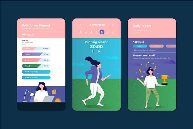 App voor het bijhouden van doelen en gewoonten Gratis Vector