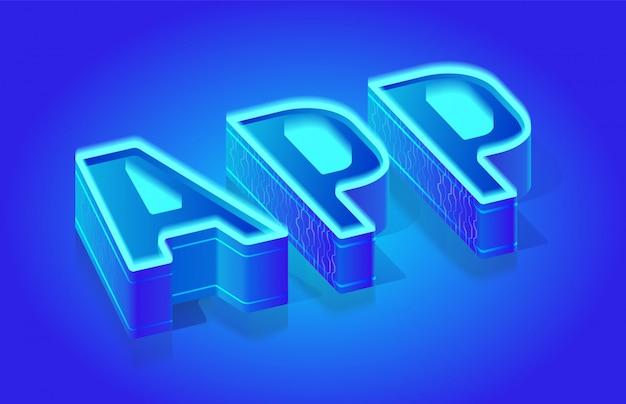 App word isometrische vector typografie sjabloon Premium Vector
