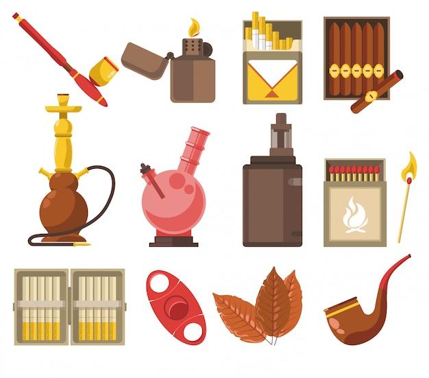 Apparaten en tabaksproducten, pijp en waterpijp Premium Vector