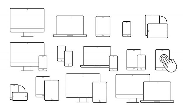 Apparatenlijnpictogrammen voor responsief ontwerp Premium Vector