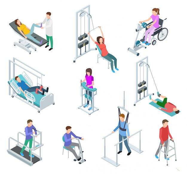 Apparatuur voor fysiotherapie revalidatie. patiënten en verplegend personeel in revalidatiecentrumkliniek. isometrische vector set Premium Vector