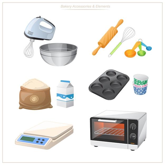 Apparatuur voor het bakken, inclusief ovens, bloemmixers, bloemschalen, enz. handig om te gebruiken in advertenties voor uw banketbakkerij. Premium Vector