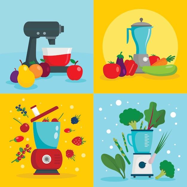 Apparatuur voor keukenmachines Premium Vector