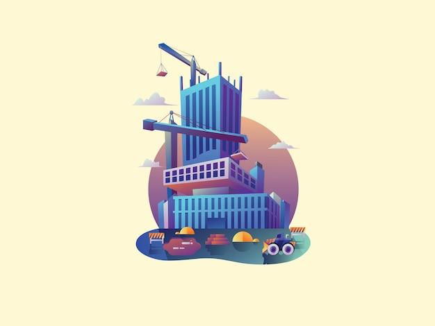 Appartement bouwer web vectorillustratie Premium Vector