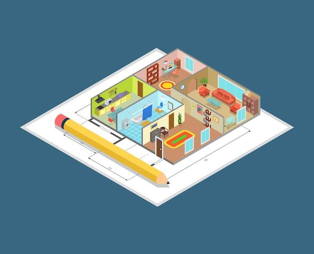 Appartement interieur plan plat isometrische beroep concept site binnenmuren en meubels objecten in platte kamers. creatieve architectuurontwerpcollectie. Gratis Vector