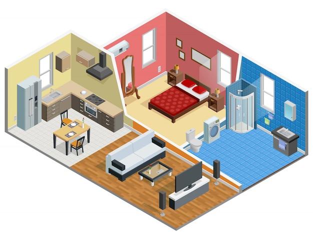 Appartement isometrisch ontwerp Gratis Vector