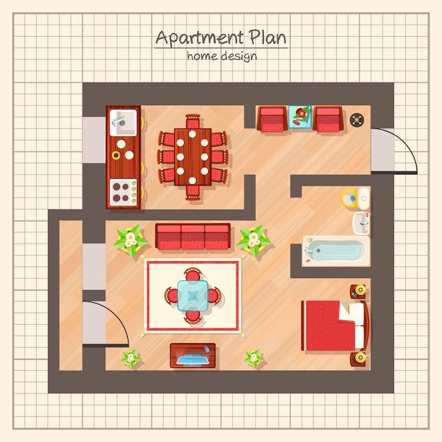 Appartement plan illustratie Gratis Vector