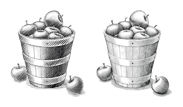 Apple in mand hand tekenen vintage stijl zwart-wit illustraties geïsoleerd. vergelijk van eenvoudige en complexe lijnen illustratie Premium Vector