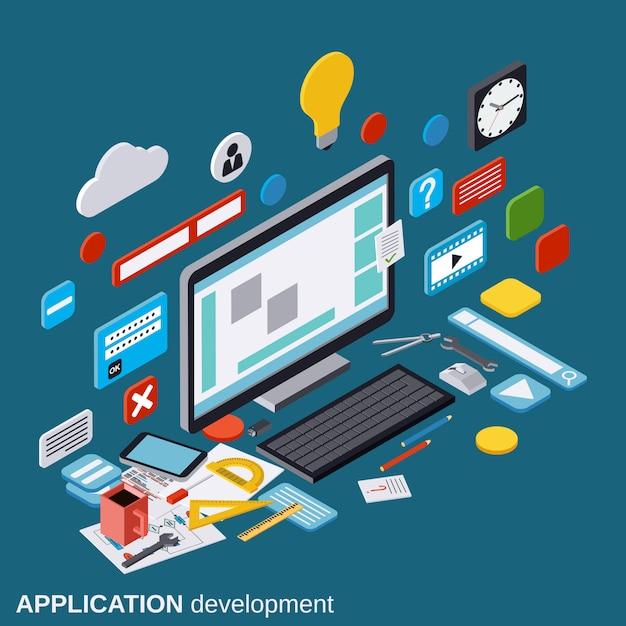 Applicatie ontwikkeling, seo proces, algoritme optimalisatie, website bouw vlakke 3d isometrische vector concept illustratie Premium Vector