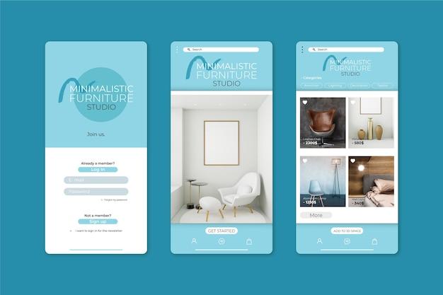 Applicatiesjabloon voor het winkelen van meubels Gratis Vector