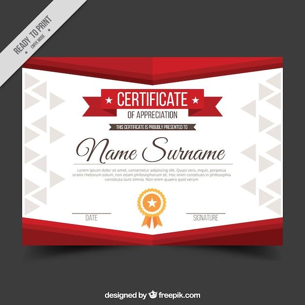 Appreciatie diploma met rode vormen Gratis Vector