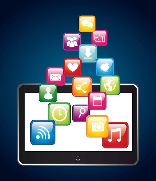 Apps over tabletapp winkel vectorillustratie Premium Vector