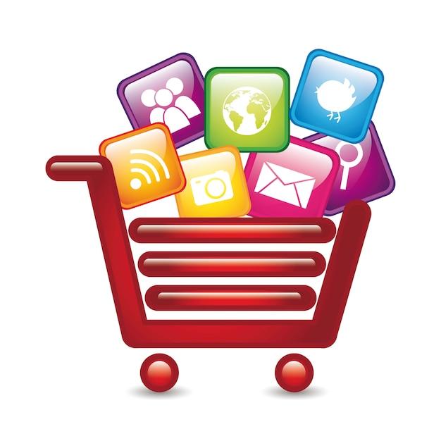 Apps over winkelwagen app store vector illustratie Premium Vector