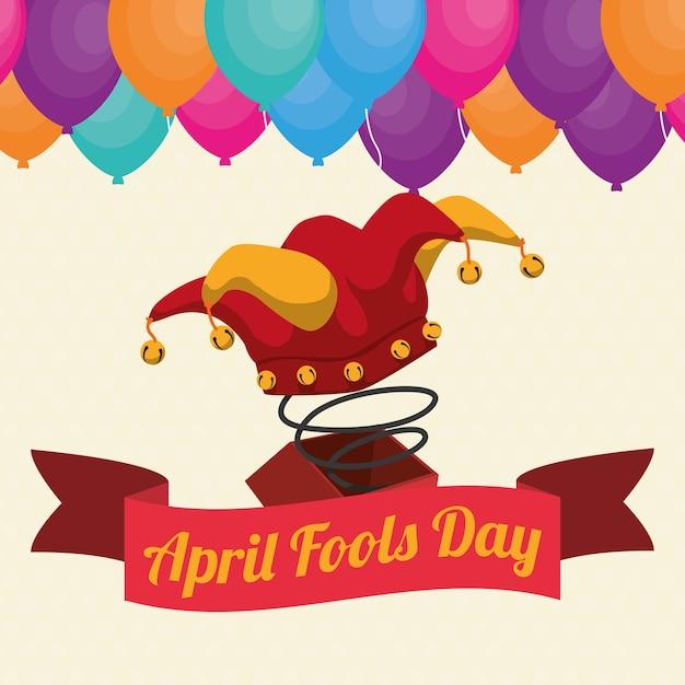 April dwazen dag hoed joker vak lint ballonnen Premium Vector