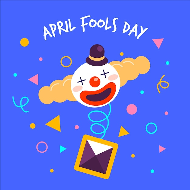 April dwazen dag met clown Gratis Vector