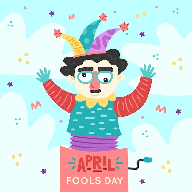 April dwazen dag met clown Gratis Vector