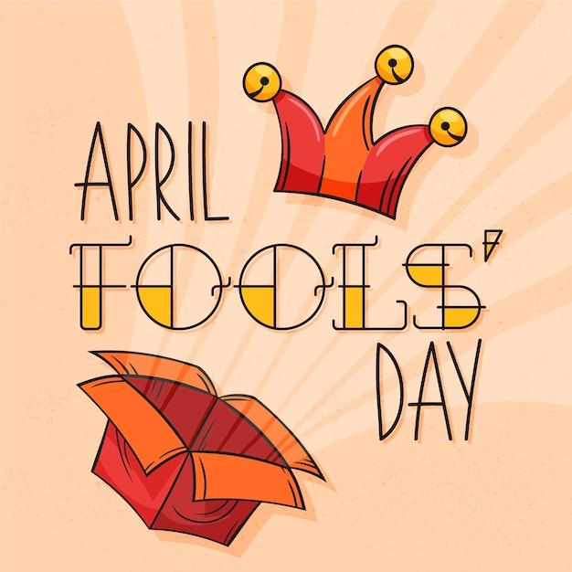 April dwazen dag met doos en hoed Gratis Vector