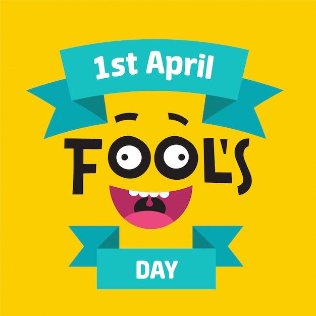 April fool's day-concept met kleurrijke teksten op gele achtergrond Premium Vector