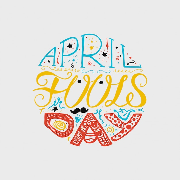 April fools day lettering Premium Vector