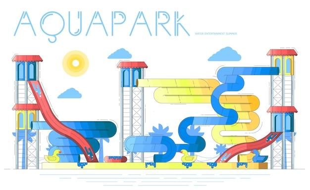 Aquapark met waterspeeltuinen, zwembaden, glijbanen, attracties. waterpark in de zomer. Premium Vector