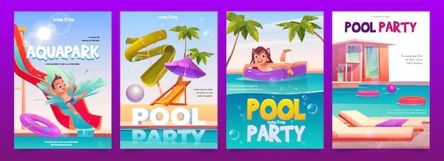 Aquapark pool party poster set voor kinderen, Gratis Vector