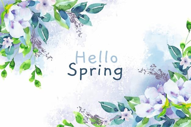 Aquarel achtergrond hallo lente Gratis Vector