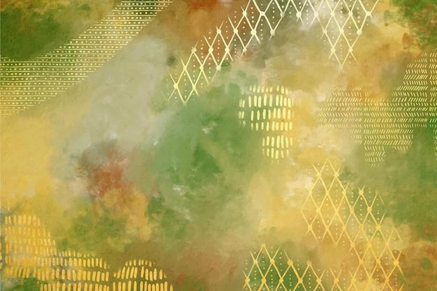 Aquarel achtergrond met gouden folie Gratis Vector