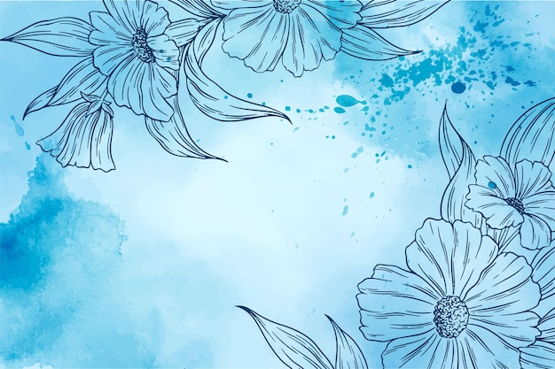 Aquarel achtergrond met hand getrokken elementen Gratis Vector