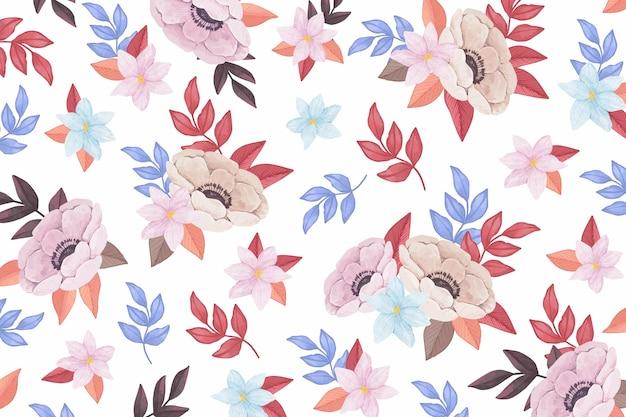 Aquarel achtergrond met kleurrijke bloemen Premium Vector