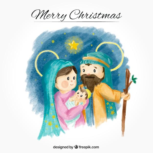 Aquarel achtergrond met mooie jezus geboorte Gratis Vector