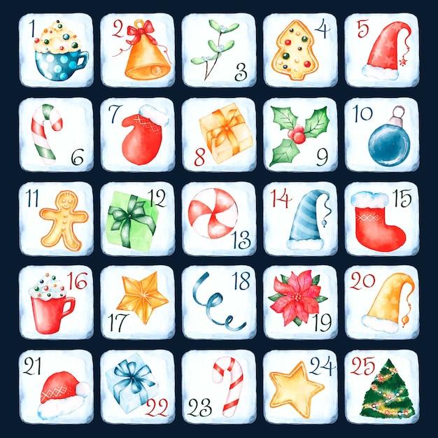 Aquarel adventskalender met traditionele symbolen Gratis Vector