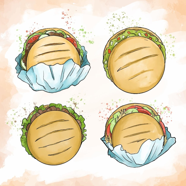 Aquarel arepas illustratie collectie Gratis Vector