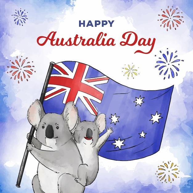 Aquarel australië dag Gratis Vector