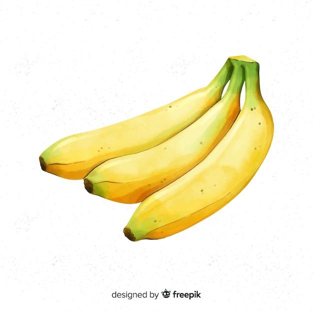 Aquarel bananen achtergrond Gratis Vector