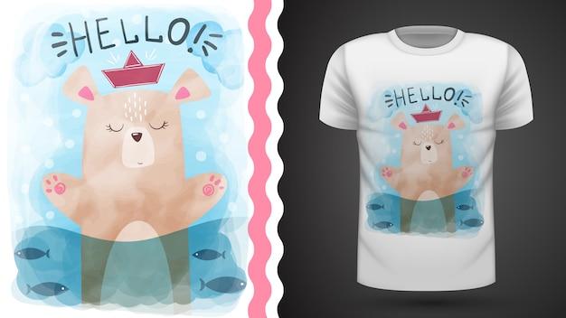 Aquarel beer - idee voor print t-shirt Premium Vector
