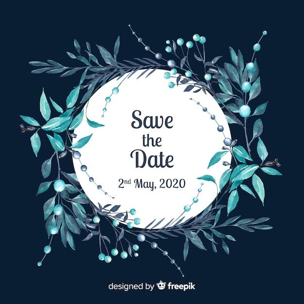 Aquarel bewaar de datum Gratis Vector