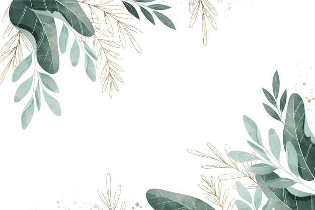 Aquarel bladeren met lege ruimte Gratis Vector