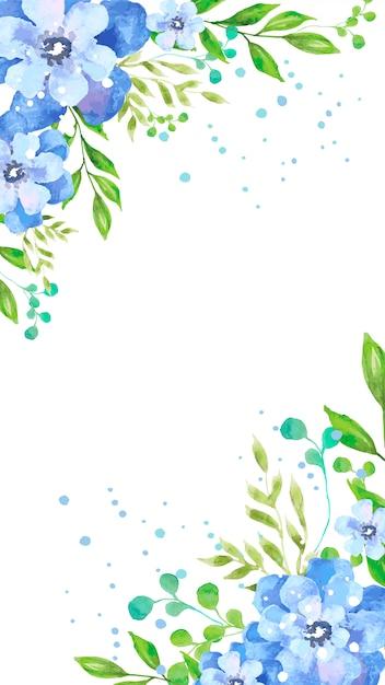 Aquarel blauwe bloemen mobiel behang Gratis Vector