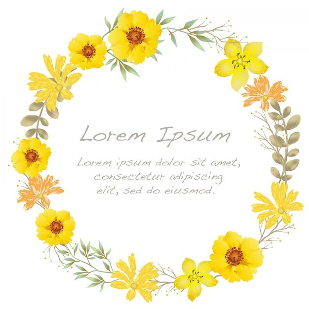 Aquarel bloem frame met tekst ruimte geïsoleerd op een witte achtergrond. Premium Vector