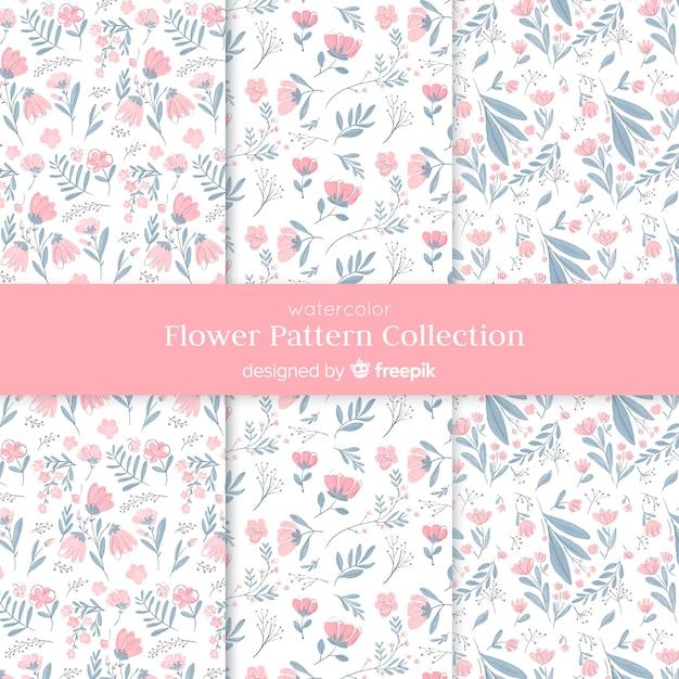 Aquarel bloem patroon collectie Gratis Vector