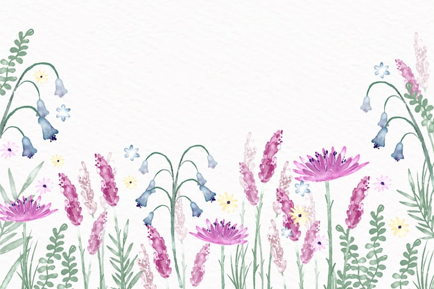 Aquarel bloemen behang in pastel kleuren thema Gratis Vector