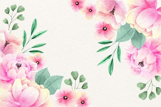 Aquarel bloemen behang ontwerpen Gratis Vector