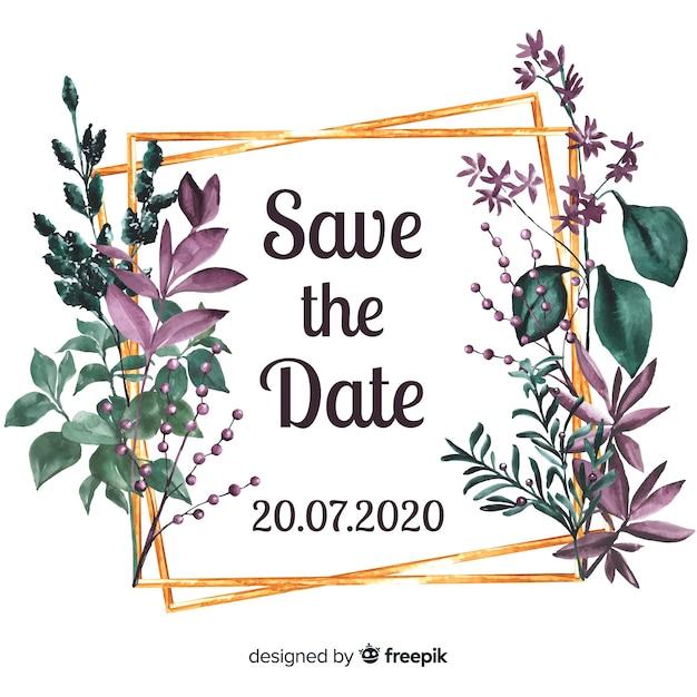 Aquarel bloemen bewaar de datum Gratis Vector