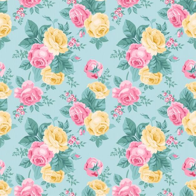 Aquarel bloemen bladeren naadloze patroon achtergrond Premium Vector