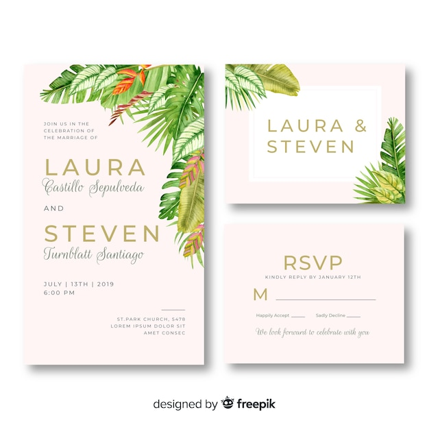 Aquarel bloemen bruiloft briefpapier sjabloon Gratis Vector