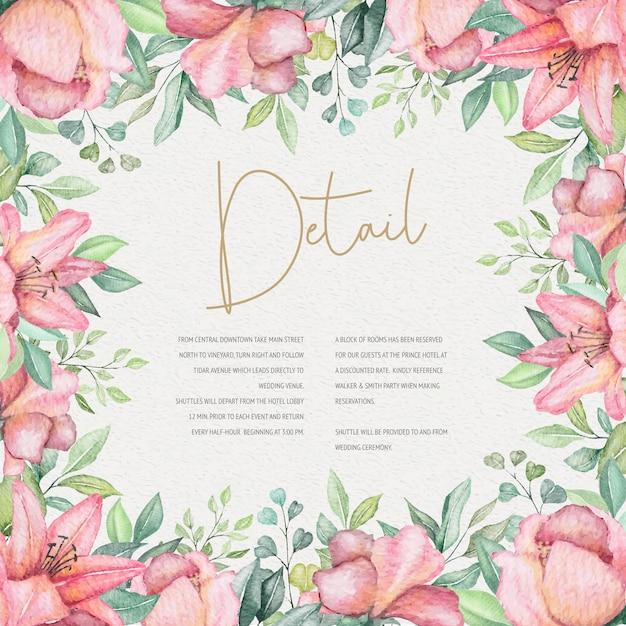 Aquarel bloemen bruiloft kaart Gratis Vector
