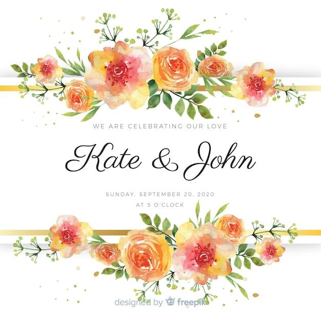 Aquarel bloemen bruiloft kaartsjabloon Gratis Vector